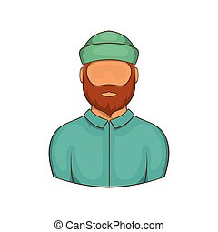 Lumberjack icon, cartoon style - Lumberjack icon. Cartoon...
