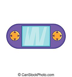 Portable game console icon, cartoon style