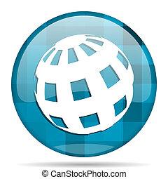 azul, modernos, desenho, fundo,  Internet, terra, branca, redondo, ícone