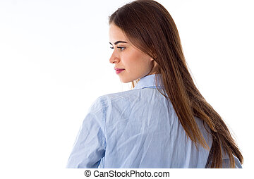 Woman standing backside - Young pretty woman with long hair...