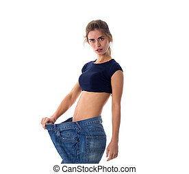 Woman wearing jeans of much bigger size - Young woman...