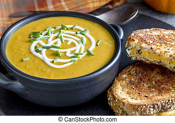Homemade fresh pumpkin squash soup - Homemade pumpkin squash...