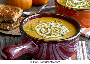 Homemade fresh pumpkin squash soup - Pumpkin squash soup...