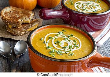 Homemade fresh pumpkin squash soup - Homemade pumpkin squash...
