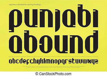 punjabi abound - set of stylish alphabet letters isolated on...
