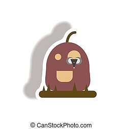 Vector illustration paper sticker Halloween icon pumpkin and...