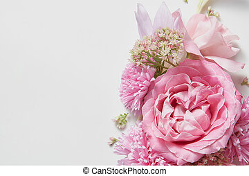 Bouquet of pink roses - pink flower in a bouquet and place...