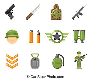 War game flat icons, or army and weapon signs vector