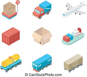 Isometric cargo transportation and logistic icons Logistic...