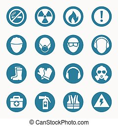 Occupational health icons and safety signs