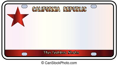 California The Golden State - California License Plate in...