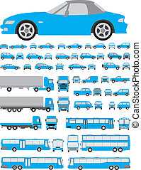 Cars set of silhouettes - Assorted vehicle silhouettes...