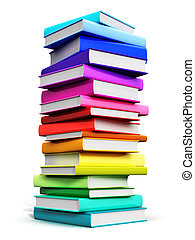 Big stack of color hardcover books - Creative abstract...