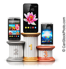 Smartphones or mobile phones on pedestal - Creative abstract...
