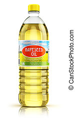 Plastic bottle with rapeseed oil - 3D render illustration of...