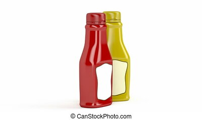 Ketchup and mustard bottles with blank labels on white...