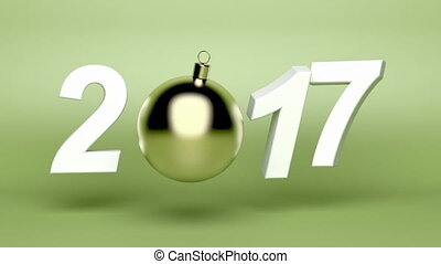 Happy New Year 2017, animation with Christmas ball