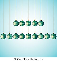 Balls with text merry Christmas