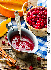 traditional English cranberry sauce. style rustic. selective...