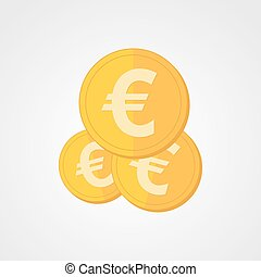 Gold euro icon. Vector illustration. - Coin icon in flat...