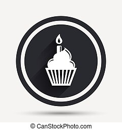 Birthday cake sign icon. Burning candle symbol.
