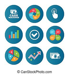 ATM cash machine withdrawal icons. - Business pie chart....