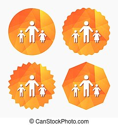 One-parent family with two children sign icon. Father with...