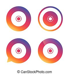 CD or DVD sign icon. Compact disc symbol. Gradient buttons...