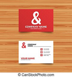 Ampersand sign icon. Logical operator AND. - Business card...