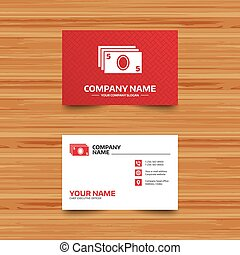 Cash sign icon. Paper money symbol. - Business card...