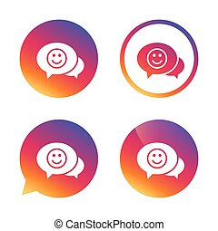 Chat Smile icon. Happy face symbol. - Chat Smile icon. Happy...
