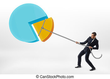 Businessman pulling rope with piece of the pie chart.
