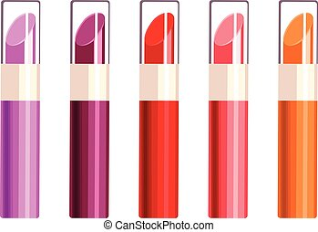Lipstick - Vector illustration of different color lipstick...