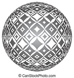 Tiled spherical surface. Circle 3D shape. - Tiled textured...