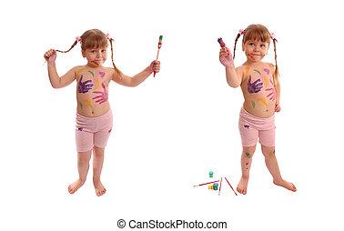 serie, dos, fotos, cepillo, Plano de fondo, pinturas, blanco, niña