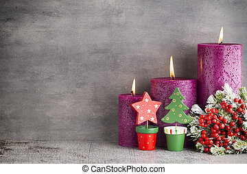 Candle, christmas lights, decors and ornament. - Three...