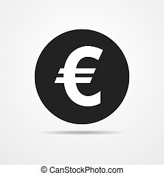 Black euro icon. Vector illustration. - Euro sign in flat...