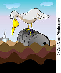 Oil Oil Everywhere - A large bird perched on a dented steel...