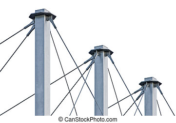 Tied Suspension Roof Cables, Three Tall Grey Isolated Masts,...