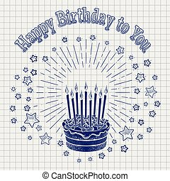 Ball pen sketch birthday cake with candles stars and...