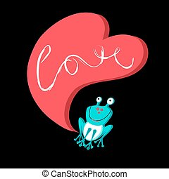 Vector love with a frog