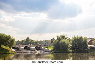 Dam in Tsaritsyno park in Moscow