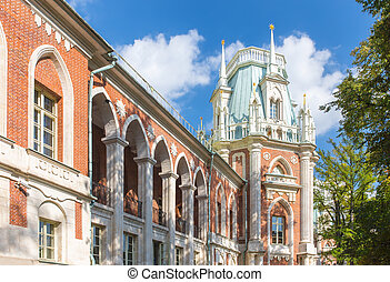Tsaritsyno palace in Moscow - Close-up view of the grand...