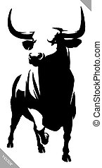 black and white linear paint draw bull vector illustration -...