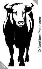 black and white linear paint draw bull vector illustration
