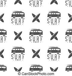 Surfing trip pattern design Summer seamless with surfer van,...