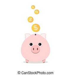 Piggy bank with falling coins. Vector illustration. - Pig...