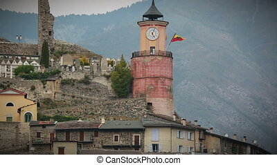 Medieval Tower Of Tende - Clock on the Wall of a Medieval...