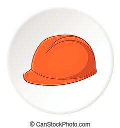 Construction helmet icon, cartoon style - Construction...