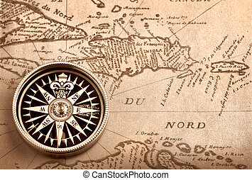 Compass on old map - Compass on old handwritten map of...